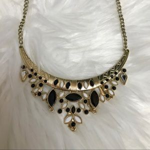 Francesca's gold black statement necklace